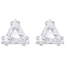 ATTRACT TRIANGLE STUD PIERCED EARRINGS, WHITE